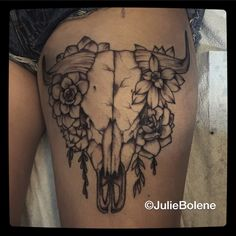 Bull skull tattoo succulent tattoo by julie Bolene