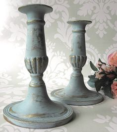 Pair of Vintage Shabby Chic Solid Brass Candlesticks Painted by PaintMeNewShop, £25.00