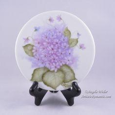 Tea Trivet Violets on Porcelain Hand Painted China Tea Party Cottage Decor – Artistic Romantic