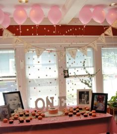 Pink Gold First Birthday Party Ellie Lyla turn One