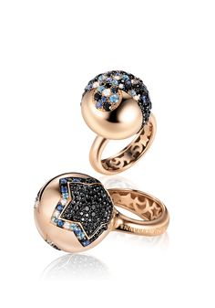 Pasquale Bruni Sogni D'Oro Collection. Earrings in pink gold with black spinel, sapphires, topaz and diamonds