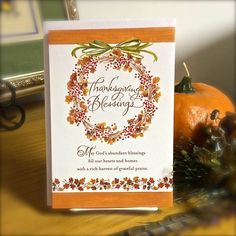 Thanksgiving Blessings Card with scripture Holly Monroe Calligraphy