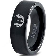 Star Wars Force Awakens First Order Ring Symbol Black Tungsten Carbide Ring