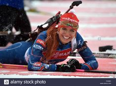 Stock Photo - Female Biathlete Gabriela Soukalova of Czech Republic smiles at the shooting range during a training session at the Biathlon World Championships, in the Holmenkollen Ski Arena Running Pictures, Shooting Range, Cross Country Skiing, Winter Beauty, Sports Illustrated, World Championship, Winter Sports, Sport Girl, Female Athletes