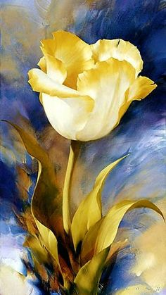 Beautiful Gold and blue colours make this flowers more #OilPaintingFlowers