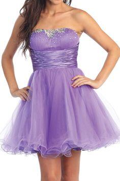 Strapless Prom Dress Short Skirt Lilac, $78.