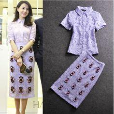 2014 Charming Purple Lace Blouse+Beading Slim Skirt Skirt Suit  (1 set)  140617YY01 $89.50