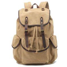 Handmade Khaki Waxed Canvas Backpack Travel Backpack School Backpack Hiking Rucksack FB06