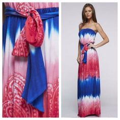Tie Dye Paisley Maxi Dress To die for!!!!! Fabulous colors on this strapless maxi!!! Waist tie. Sizes S M L Dresses Maxi