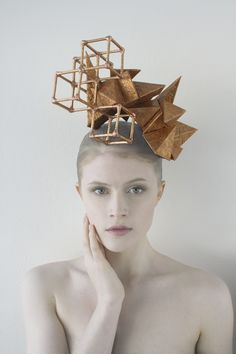 "Geometric Headpiece - Origami Fashion - Paper Art. ""Crystal Habit Forming"" Headpiece Series."