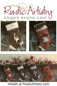 Christmas stockings made to last a lifetime. Big and sturdy enough that you can actually fill them with little gifts. Each one is handcrafted from extra thick leather with a cowhide insert design and decorative curlicue stitching. Cowboy Christmas, Rustic Christmas, Christmas Stockings, Christmas Christmas, Rustic Chic, Rustic Style, Rustic Decor, Rustic Home Interiors, Little Gifts