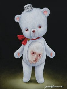 The works of Italian artist Paolo Pedroni capture a whimsical and dark world populated by child-like maidens with an aristocratic flair. Though his art is often compared to a cross between Pop Surr… Trevor Brown, Contemporary Art Artists, Mark Ryden, Lowbrow Art, Bear Art, Italian Artist, Surreal Art, Love Art, Les Oeuvres
