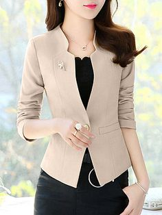 V Neck Single Button Plain Blazers-Berrylook 99 Stylish Blazer Outfits Ideas For Women Women S Fashion For Broad Shoulders Women S Fashion With Sneakers Info: 9495398360 Are you bored by wearing same type of dress every day for your offices? Blazer Fashion, Suit Fashion, Fashion Outfits, Dress Outfits, Cheap Fashion, Work Fashion, Casual Blazer Women, Blazers For Women, Blazer Outfits For Women