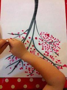 Faire un arbre japonais avec des cotons tiges