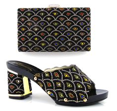 Fashionable Design African Woman Pumps Shoes Matching Bag Luxury Rhinestones Shoes And Bag Sets Nigerian High Heel Shoes