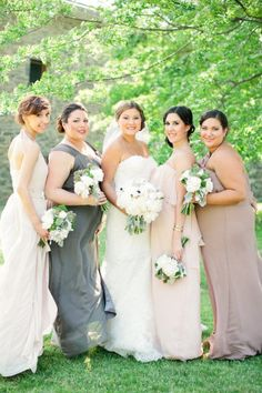 Formal mismatched Joanna August bridesmaids gowns. Love this look! Available at http://joannaaugust.com