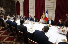 Host: French President Francois Hollande (4-R) hosts a lunch for Spanish King Felipe VI (5-R) and his wife Queen Letizia (3-R) at the Elysee Palace in Paris. The Spanish Royal couple are on an official one-day visit to France