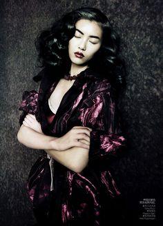 Liu Wen for Vogue China, September 2010 by Paolo Roversi - wearing Nina ricci