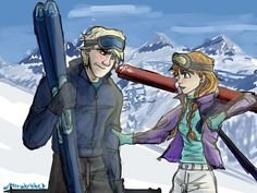 Kristoff and Anna - Skiing fun As cute as this is, they should be wearing helmets. Blue runs, and even green runs can be dangerous - and what about the tree wells? Jelsa, Disney And Dreamworks, Disney Pixar, Walt Disney, Mermaid Princess, Princess Zelda, Anna Kristoff, Disney Frozen, Frozen Anime