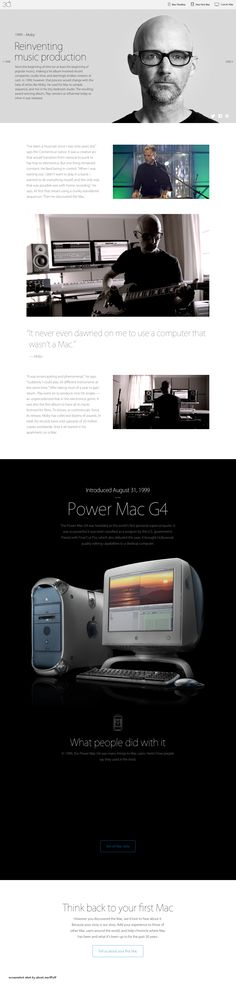 "Apple Mac @30 2014-01-24 off'l Anniversary mini site: USA ""Apple - Thirty Years of Mac"" - page: 1999 invented the Home Music Studio (by merging Steve Job's favorites: Liberal Arts & Hi-Tech...inspired by Apple, pioneered self-publishing music, revolutionizing music production, by circumventing record co excessive cost & abuse, since his Play album): Moby • http://www.apple.com/30-years/1999"