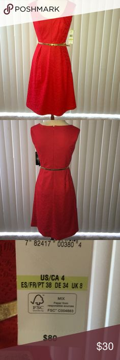 """Red-Black Label Holiday Dress Red holiday dress! Prefect for Christmas party or simple red event! The color is exactly called """"heartbeat red"""" and had gold belt included Black Label  Dresses Midi"""