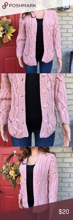 Rose pink chunky knit cardigan What a pretty piece. Chunky and heavy rose pink cardigan with pockets. Cute buttons on front. Some very m nor fading, perhaps just the color of the cardigan. Not sure. The Limited Sweaters Cardigans