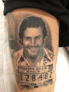 Pablo escobar tattoo i done a couple of weeks ago. #pablo #pabloescobar #tattoo #tattooartist #tattoodesign #art #ink #theinkpadtattoosaltcoats #legtattoo
