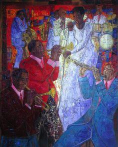 Festival de jazz 130 x 162 cm collection particulière www.aimevenel-biographie.com #art #painting #tableau #Music