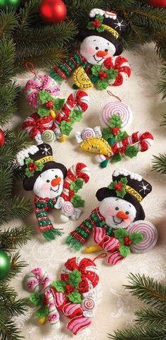 Bucilla Candy Snowman Ornaments Felt Applique Kit 4 Set Of 6 Felt Christmas Decorations, Felt Christmas Ornaments, Snowman Ornaments, Christmas Time, Xmas, Felt Snowman, Snowman Crafts, Felt Crafts, Christmas Projects