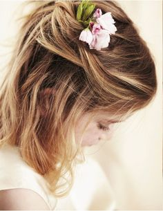 Possible Everleigh flower girl hair with white flower.