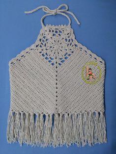 Oi meninas, tudo bem?  Vim postar alguns trabalhos que fiz durante esse tempo que andei afastada do blog.   Cropped em crochê  Fiz esse Crop... Crochet Bra, Crochet Skirts, Crochet Halter Tops, Crochet Crop Top, Crochet Cardigan, Crochet Shawl, Crochet Clothes, Hand Crochet, Crochet Patterns