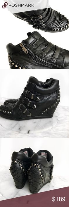 """• Ash • Leather Studded Wedge Sneakers Multi buckle detail with side zipper closure. Super soft leather. Appx. 5"""" heel Ash Shoes Wedges"""
