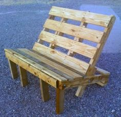 Skid palette turned into outdoor bench seating.