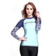 f8121c66d1d Aliexpress.com : Buy Blue Patchwork Print Swimsuits Women Surfing Rash Guard  Sunscreen Long Sleeve Swim Shirts Beachwear Top Quality 2016 New Arrival  from ...