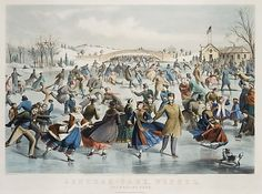 Lithographed by Lyman W. Atwater (American, 1835–1891). Central Park, Winter: The Skating Pond, 1862. After a painting by Charles Parsons (American (born England), Hampshire 1821–1910 New York); Published and printed by Currier & Ives (American, active New York, 1837–1907). The Metropolitan Museum of Art, New York. Bequest of Adele S. Colgate, 1962 (63.550.266) #newyork #nyc