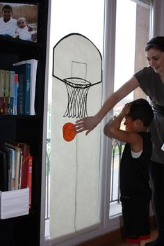 Pin the basketball on the hoop game