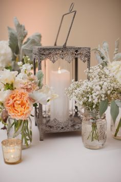 Pink, Peach, & White Wedding, Birdcage Centerpiece http://significanteventsoftexas.com/