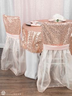 Blush Glitz Sequin & Silver Lamour Satin tablescape ft. our exclusive Sparkle Glitz Sequin Chiavari Chair Slip Covers! Perfect for a wedding, sweet 16, quinceanera, or bridal shower.