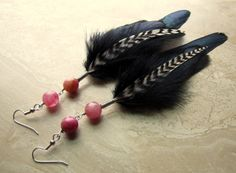 Feather Earrings  Black Feathers Red Agate by peacefrogdesigns, $20.00