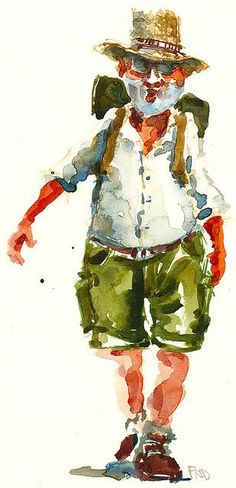 hiking artist, how fun is this guy. Great use of the brush, wet into wet and white of the paper....try it! #watercolorarts