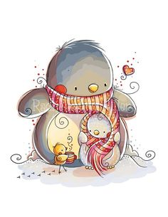 Winter Warmth by RachelleAnneMiller on Etsy  /  I think there's a snowman there!