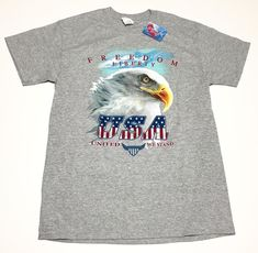 Mens USA United We Stand T-shirt Patriotic Size M L NWT Bald Eagle Gray Freedom #Gildan #GraphicTee