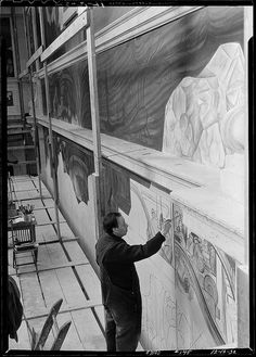 Diego Rivera working on DIA mural