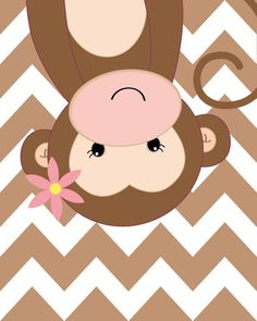 Nursery Quad Pink and Brown Nursery Monkey Nursery by ChicWallArt