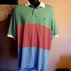Polo Ralph Lauren Polo Shirt sz XL Cotton Striped Green Red Blue White #RalphLauren #PoloRugby