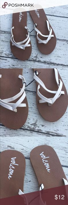 NWOT Volcom White Strappy Flip Flop Sandals Kids 3 Volcom  Strappy sandals  Size: US 3  Color: tan & white  All Man Made Materials  New Without Tags Volcom Shoes Sandals & Flip Flops