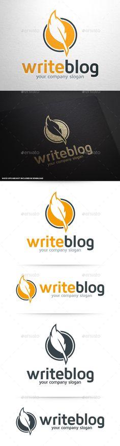 Write Blog - Feather Pen Logo - Download…
