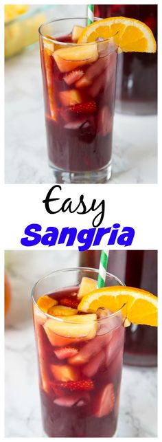 This Easy Sangria Recipe will definitely be a hit at any get together. Slightly sweet, fruity, and perfect for a hot day. Make a pitcher today and invite some friends over!