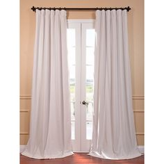 Signature Off White Velvet Blackout 96-Inch Curtain Panel | Overstock.com Shopping - The Best Deals on Curtains