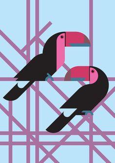 Toucans vector illustration  Art Print